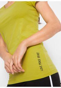 Zielona bluzka bonprix z nadrukiem, z krótkim rękawem, krótka, sportowa