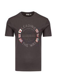Napapijri - T-shirt NAPAPIJRI SALYA. Materiał: bawełna, prążkowany. Wzór: nadruk #1