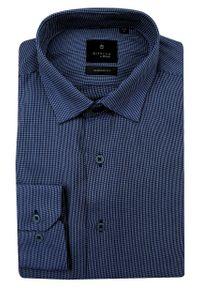 Niebieska elegancka koszula Rey Jay długa, z długim rękawem, do pracy
