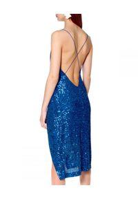 Niebieska sukienka na ramiączkach, na karnawał, midi, prosta