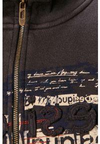 Szara bluza rozpinana Desigual casualowa, z kapturem, z nadrukiem