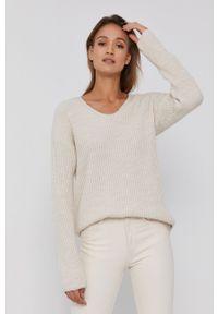 Frieda & Freddies - Sweter z domieszką wełny. Kolor: beżowy. Materiał: wełna. Długość rękawa: długi rękaw. Długość: długie. Wzór: ze splotem