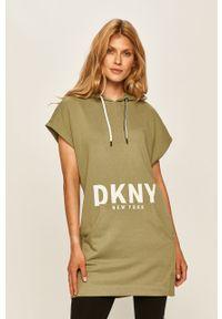 Oliwkowa bluza DKNY z kapturem, z nadrukiem