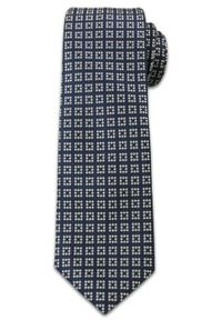 Elegancki Krawat Męski w w Kwadraciki -6,5 cm- Chattier, Granatowo-Biały. Kolor: niebieski. Materiał: tkanina. Wzór: geometria. Styl: elegancki
