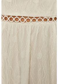 Biała sukienka Vila rozkloszowana, bez rękawów, z okrągłym kołnierzem