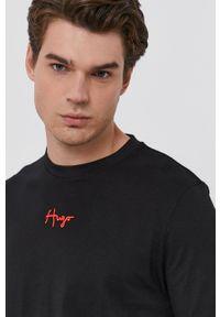 Hugo - T-shirt bawełniany. Okazja: na co dzień. Kolor: czarny. Materiał: bawełna. Wzór: aplikacja. Styl: casual