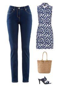 Długa bluzka z wiskozy LENZING™ ECOVERO™ bonprix Dł.bluzka c.nieb-biał.dr. Kolor: niebieski. Materiał: wiskoza. Długość: długie