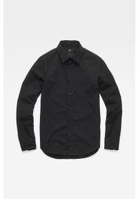 Czarna koszula G-Star RAW klasyczna, z klasycznym kołnierzykiem, długa, na co dzień