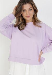 Born2be - Liliowa Bluza Morgasana. Kolor: fioletowy. Materiał: prążkowany. Długość rękawa: raglanowy rękaw. Długość: długie