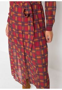 Sukienka szyfonowa w kratę bonprix ciemnoczerwony w kratę. Kolor: czerwony. Materiał: szyfon. Długość: maxi
