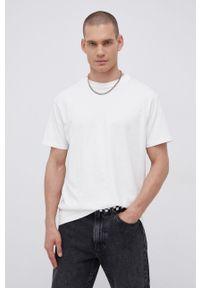 Premium by Jack&Jones - T-shirt bawełniany. Okazja: na co dzień. Kolor: beżowy. Materiał: bawełna. Wzór: nadruk. Styl: casual