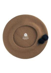Wittchen - Damski beret wełniany z pomponami. Kolor: brązowy. Materiał: wełna. Wzór: aplikacja. Sezon: zima. Styl: klasyczny
