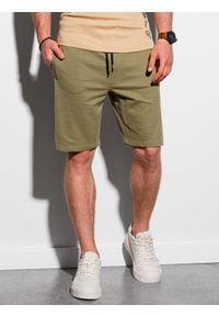 Ombre Clothing - Krótkie spodenki męskie dresowe W291 - khaki - XXL. Kolor: brązowy. Materiał: dresówka. Długość: krótkie. Styl: klasyczny