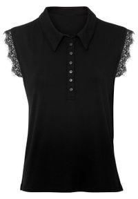 Czarna bluzka bonprix polo, w koronkowe wzory