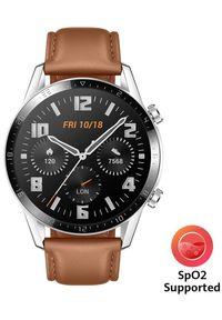 HUAWEI - Huawei smartwatch Watch GT 2, brązowy, skóra. Rodzaj zegarka: smartwatch. Kolor: brązowy. Materiał: skóra. Styl: sportowy, elegancki