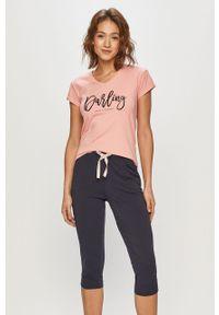 Różowa piżama Henderson Ladies z nadrukiem, krótka