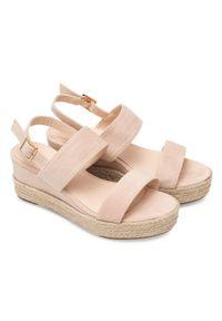 Beżowe sandały SIXTH SENS w kolorowe wzory, na lato, ze sprzączką, eleganckie