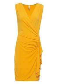 Sukienka kopertowa z falbaną bonprix ciemnożółty. Kolor: żółty. Typ sukienki: kopertowe