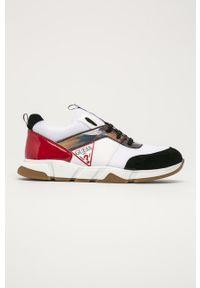 Białe buty sportowe Guess z okrągłym noskiem, na sznurówki, z cholewką