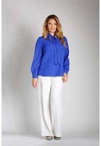 Niebieska bluzka z długim rękawem Nommo plus size, elegancka