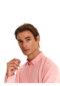 Różowa koszula TOP SECRET z długim rękawem, do pracy, na lato, w kolorowe wzory