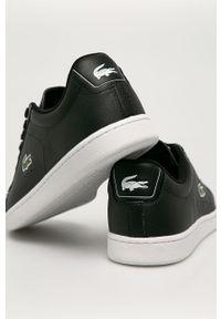 Czarne sneakersy Lacoste na sznurówki, z cholewką, z okrągłym noskiem