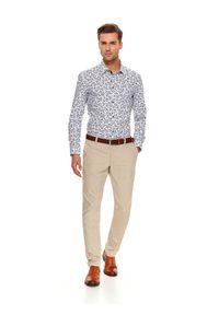 Beżowe spodnie TOP SECRET do pracy, w kolorowe wzory, na wiosnę, eleganckie