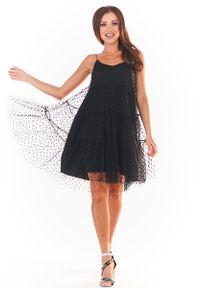 Czarna sukienka wizytowa Awama na ramiączkach, w grochy