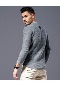 GUNS & TUXEDOS - Szary sweter z logo Edox. Kolor: szary. Materiał: tkanina, guma. Długość rękawa: długi rękaw. Długość: długie. Wzór: aplikacja