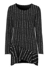 Czarna tunika Cellbes z asymetrycznym kołnierzem, w kropki, elegancka, z długim rękawem