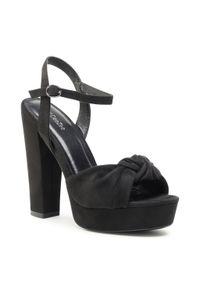 Czarne sandały DeeZee na obcasie, casualowe