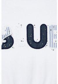 Niebieska bluzka z krótkim rękawem Mayoral krótka, z aplikacjami