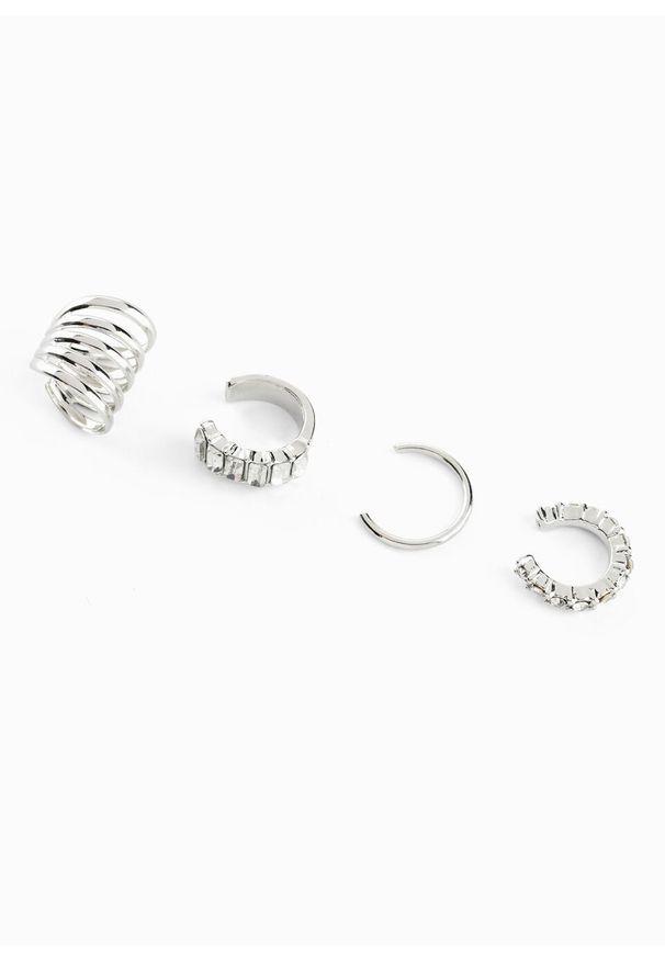 "Komplet kolczyków ""ear cuff"" (4 części) bonprix srebrny kolor"