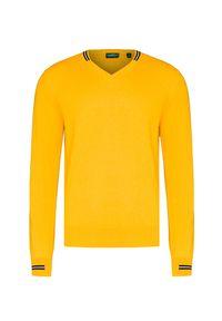 Żółty sweter Chervo sportowy, w kolorowe wzory, z dekoltem w kształcie v