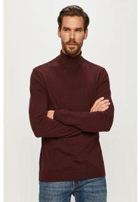 Brązowy sweter Selected z golfem, długi, z długim rękawem