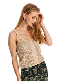 Beżowa bluzka TOP SECRET w ażurowe wzory, na ramiączkach