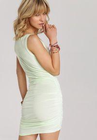 Renee - Limonkowa Sukienka Adrimere. Materiał: jeans, dzianina, koronka. Długość rękawa: na ramiączkach. Wzór: gładki. Długość: mini