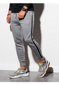 Szare spodnie Ombre Clothing melanż, eleganckie