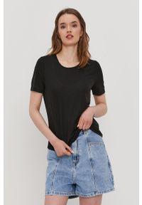 Czarna bluzka Pieces casualowa, na co dzień, gładkie
