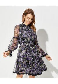 NEEDLE & THREAD - Sukienka w kwiaty Ditsy. Kolor: czarny. Materiał: koronka, materiał. Długość rękawa: długi rękaw. Wzór: kwiaty. Sezon: lato