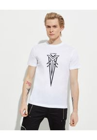 Les Hommes - LES HOMMES - Biały t-shirt z kontrastowym nadrukiem. Okazja: na co dzień. Kolor: biały. Materiał: materiał, jeans, bawełna. Wzór: nadruk. Styl: casual, klasyczny