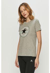 Szara bluzka Converse casualowa, z nadrukiem, na co dzień