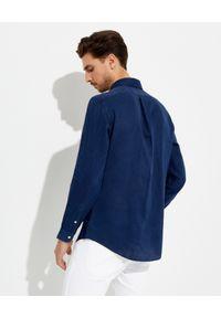 Ralph Lauren - RALPH LAUREN - Granatowa koszula z lnu Custom Fit. Typ kołnierza: polo. Kolor: niebieski. Materiał: len. Długość rękawa: długi rękaw. Długość: długie. Wzór: haft