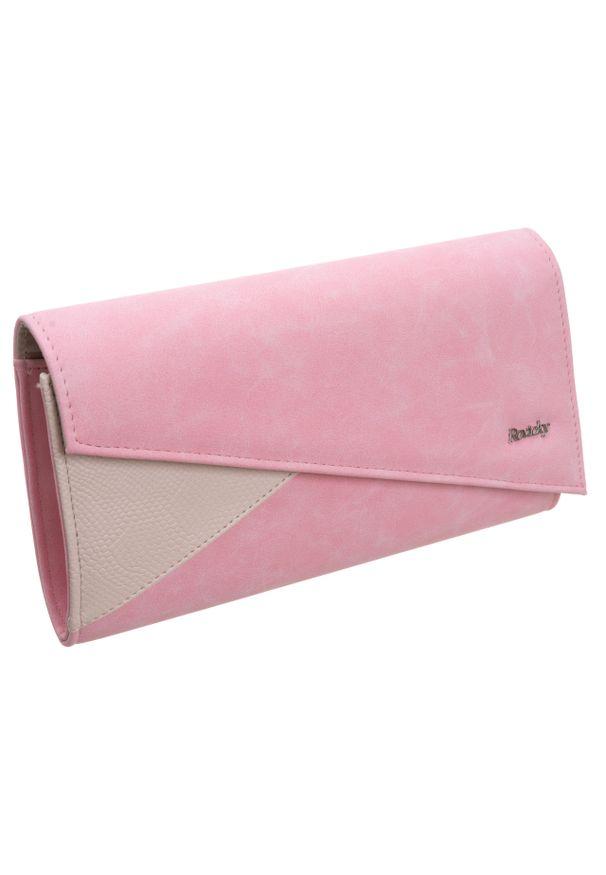 Kopertówka damska różowa ROVICKY W65 EXTRA CP2/S3D N. Kolor: różowy. Materiał: skórzane. Styl: klasyczny, elegancki