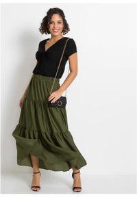 Spódnica z falban z poliestru z recyklingu bonprix ciemny khaki. Kolor: zielony. Materiał: poliester. Długość: długie #3