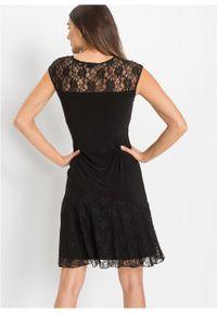 Sukienka z dżerseju z koronką bonprix czarny. Okazja: na imprezę. Kolor: czarny. Materiał: jersey, koronka. Wzór: koronka. Styl: elegancki #4