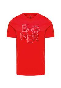 Czerwony t-shirt Bogner z okrągłym kołnierzem, z nadrukiem