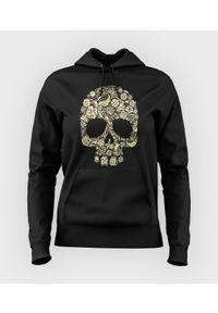 MegaKoszulki - Bluza damska z kapturem Flower Skull. Typ kołnierza: kaptur