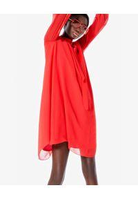 Czerwona sukienka mini Kenzo wizytowa, z długim rękawem