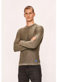 Oliwkowy sweter Jack & Jones z okrągłym kołnierzem, casualowy, na co dzień
